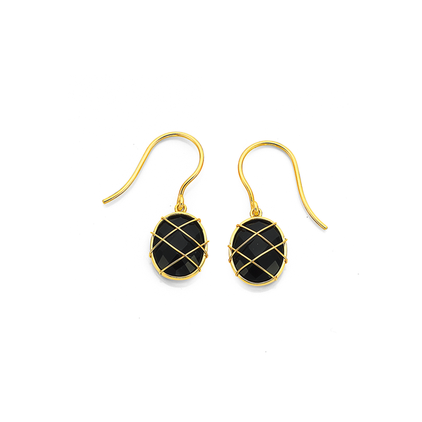 9ct Onyx & Gold Cage Earrings