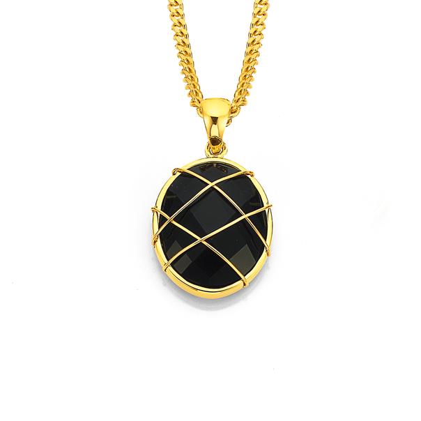 9ct Onyx & Gold Cage Pendant