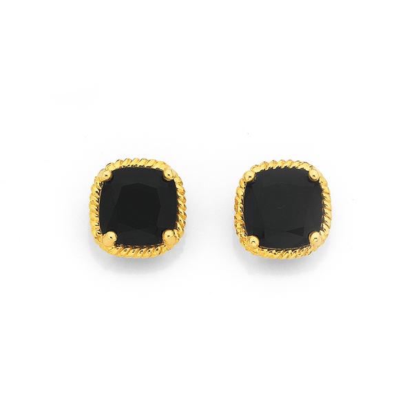9ct Onyx Rope Earrings