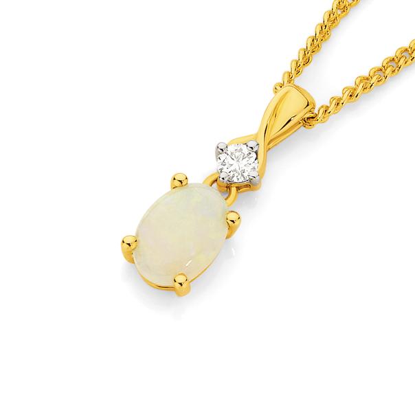 9ct Opal & Diamond Pendant