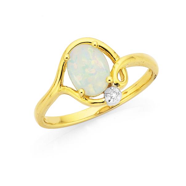 9ct Opal & Diamond Ring