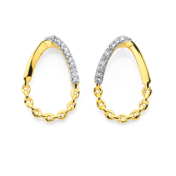 9ct Open Teardrop Earrings with Chain and Diamond