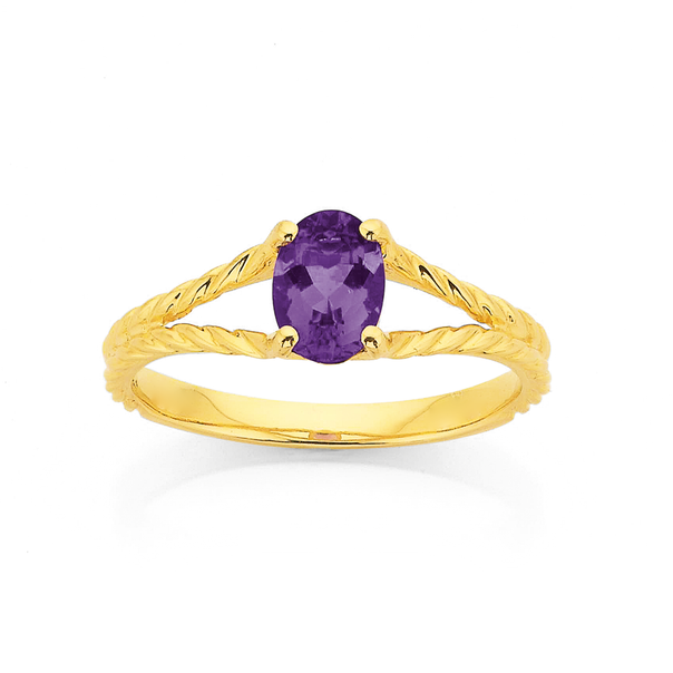 9ct Oval Amethyst with Split Rope Twist Ring