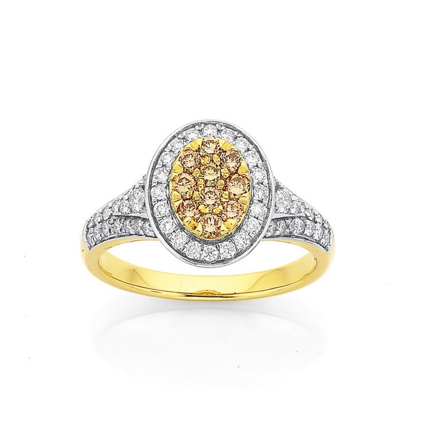 9ct Oval Champagne Diamond Cluster Ring