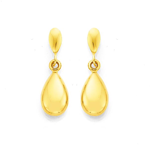 9ct Pear Drop Stud Earrings