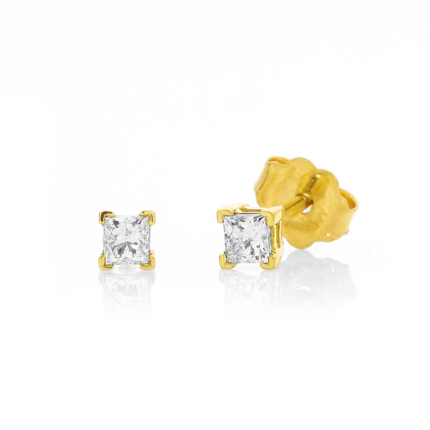 9ct Princess Cut Diamond Studs Total Diamond Weight=.15ct