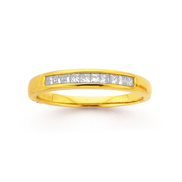 9ct Princess Cut Eternity Diamond Ring TDW=.26ct