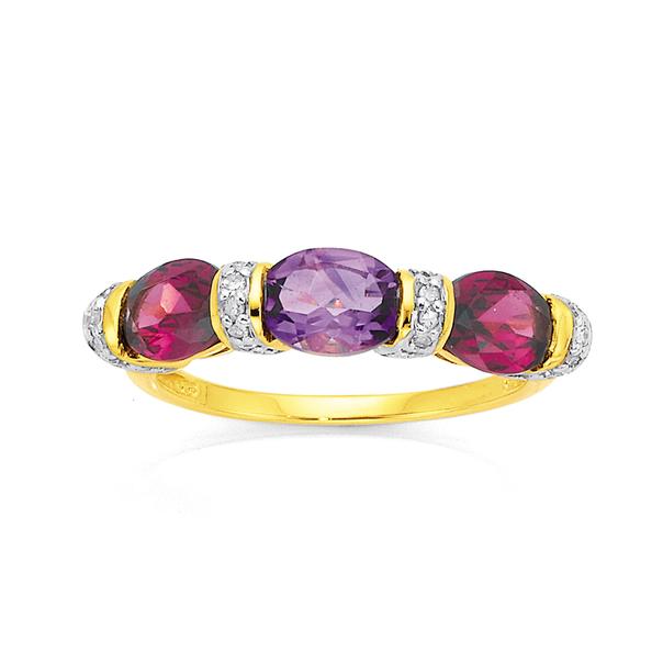 9ct Rhodolite Garnet, Amethyst & Diamond Ring