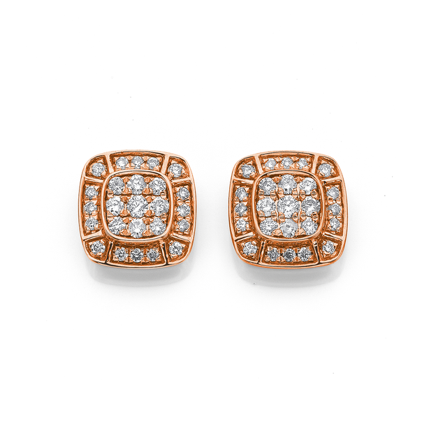 9ct Rose Gold Deco Style Earrings