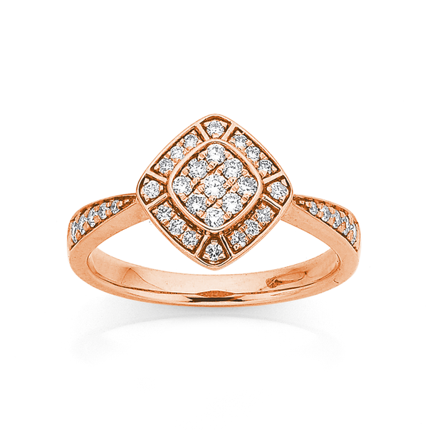 9ct Rose Gold Deco Style Ring