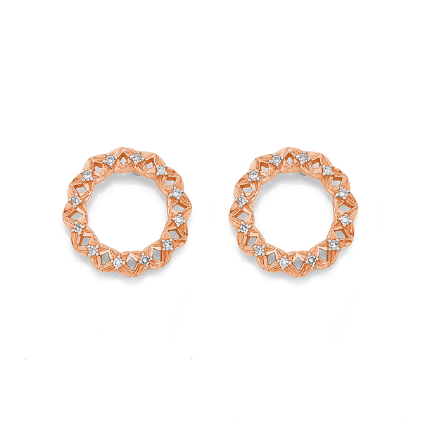 9ct Rose Gold Diamond Circle Earrings