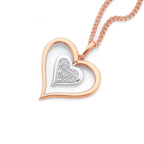 9ct Rose Gold Diamond Heart Pendant