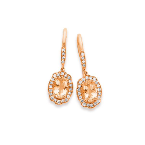 9ct Rose Gold Fancy Halo Morganite and Diamond Earrings