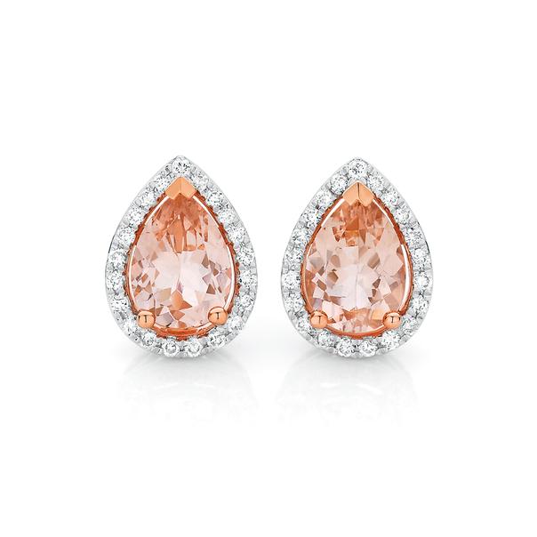 9ct Rose Gold Morganite & Diamond Earrings