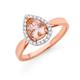 9ct Rose Gold, Morganite Diamond Ring