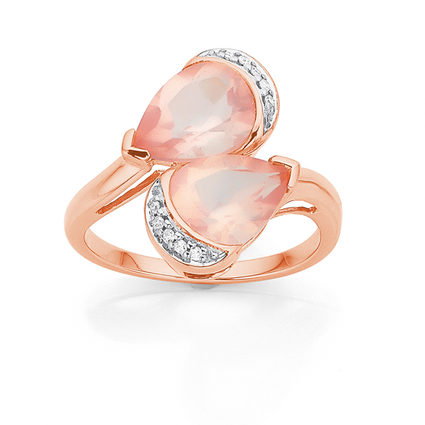 9ct Rose Gold Two Pear Shape Rose Quartz and Diamond Ring