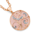 9ct Rose Quartz & Diamond Round Pendant