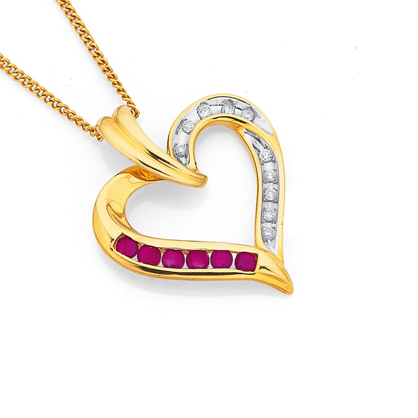 9ct Ruby and Diamond Pendant