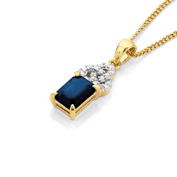 9ct Sapphire and Diamond Pendant