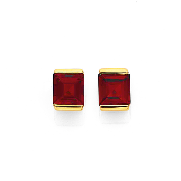 9ct Square Garnet with Gold Caps Studs