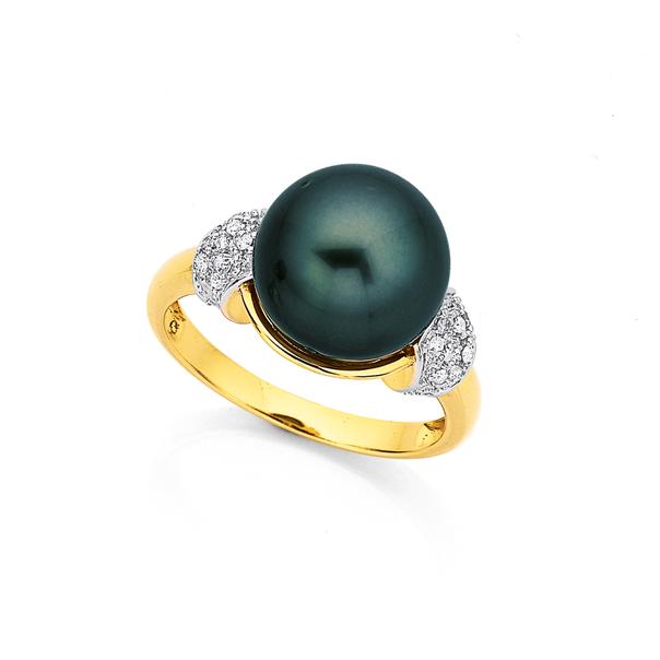 9ct Tahitian Pearl and Diamond Ring