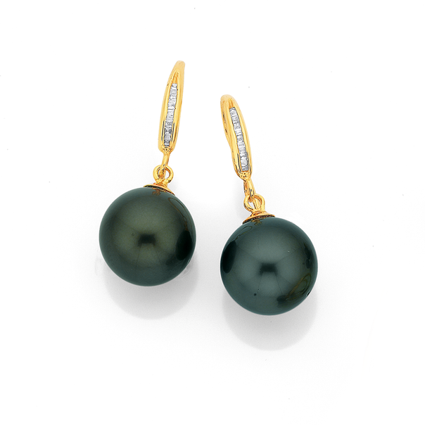 9ct Tahitian Pearl & Diamond Earrings