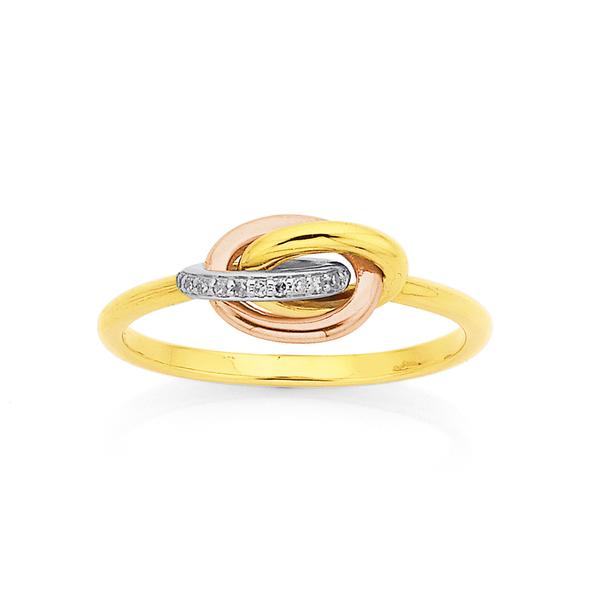 9ct Tri Tone Diamond Set Knot Ring