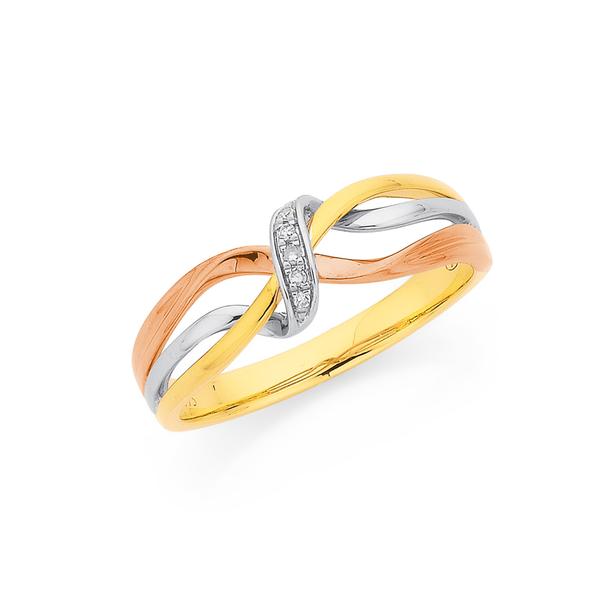 9ct Tri Tone Diamond Twist Ring