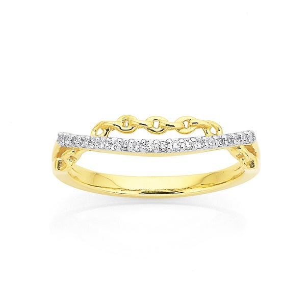9ct Two Row Diamond and Chain Ring