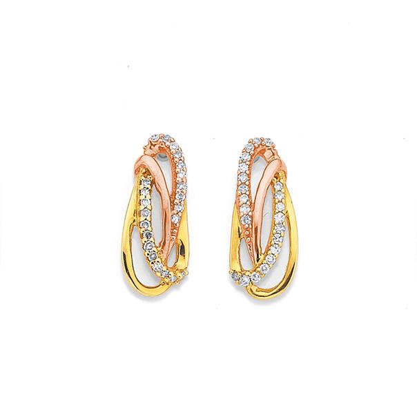 9ct Two Tone Diamond Oval Swirl Earrings TDW=.08ct