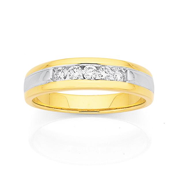 9ct Two Tone Diamond Ring Total Diamond Weight=.25ct