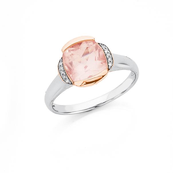 9ct Two Tone Rose Quartz & Diamond Ring