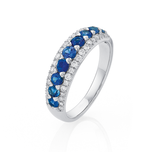 9ct White Gold Ceylon Sapphire & Diamond Ring TDW=.25ct