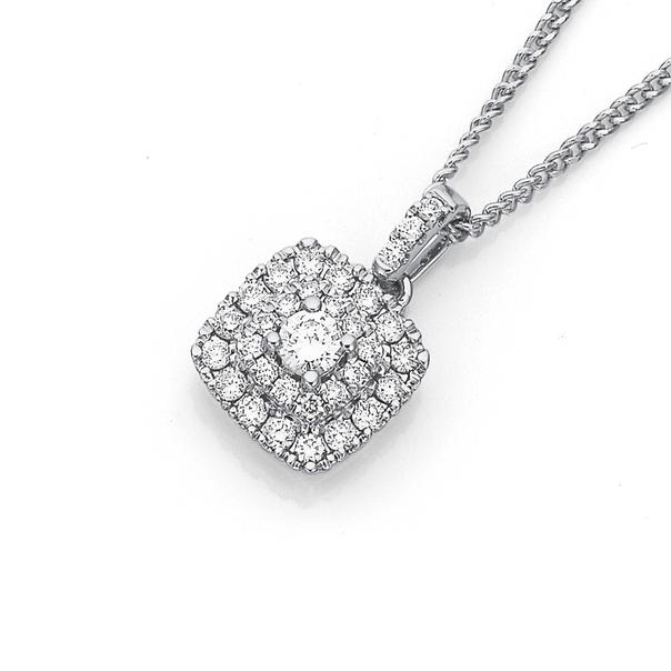 9ct White Gold Diamond Cluster Pendant TDW=.34ct