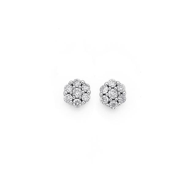 9ct White Gold Diamond Earrings TDW=.20ct