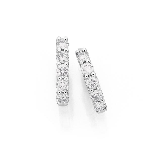 9ct White Gold Diamond Huggies Total Diamond Weight=.50ct