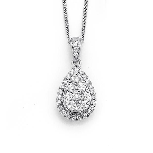 9ct White Gold Diamond Pendant TDW = .50ct