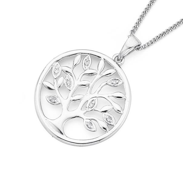 9ct White Gold Diamond Tree of Life Pendant