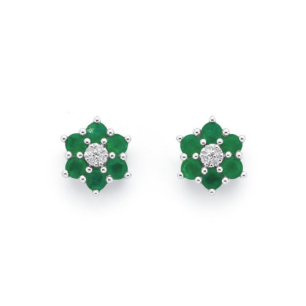 9ct White Gold Emerald and Diamond Flower Cluster Earrings