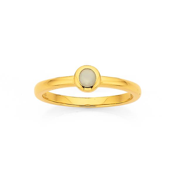 Eliza 9ct Milky Chalcedony Stone Ring