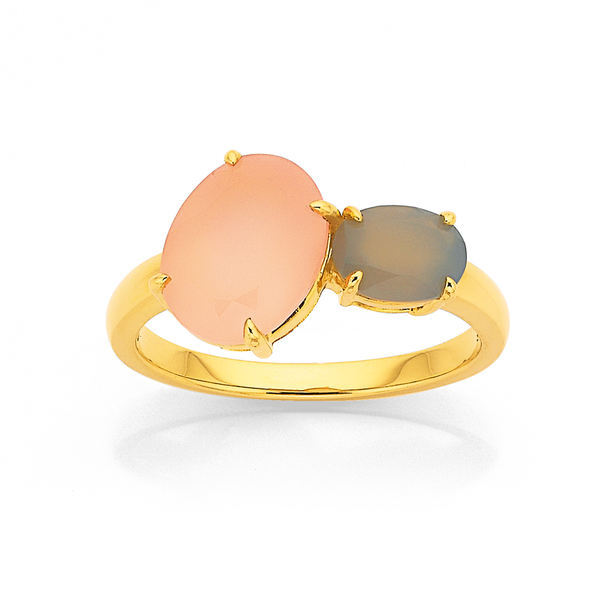 Eliza 9ct Pink and Grey Chalcedony Ring