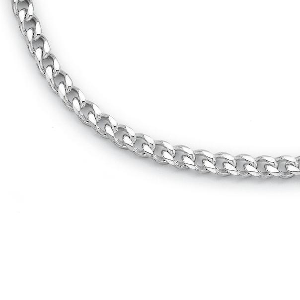 Silver 55cm Bevelled Diamond Cut Curb Chain