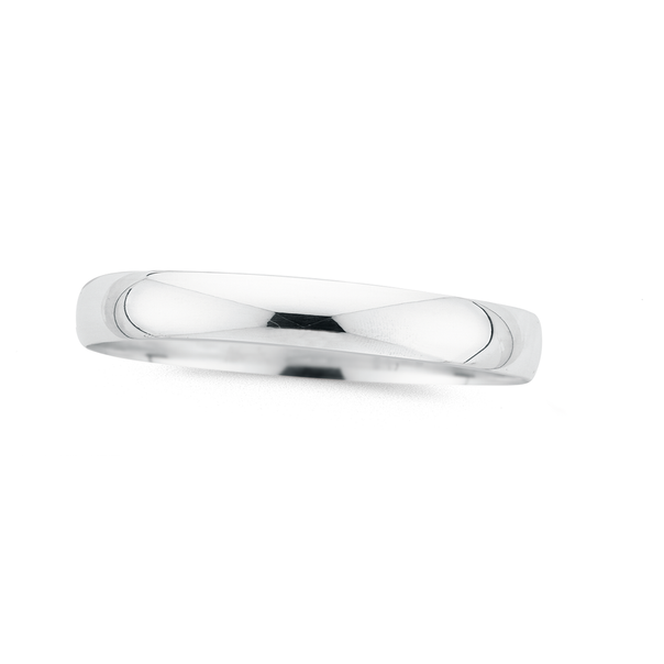Silver 65mm 10mm Round Solid Half Round Bangle