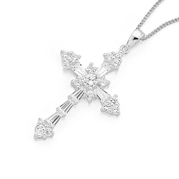 Silver Large Fancy Cubic Zirconia Cross