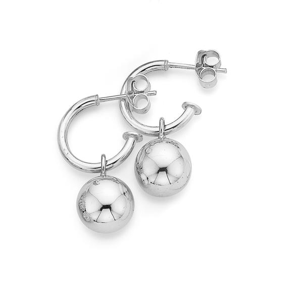 Sterling Silver 10mm Euro Ball Hoop Earrings