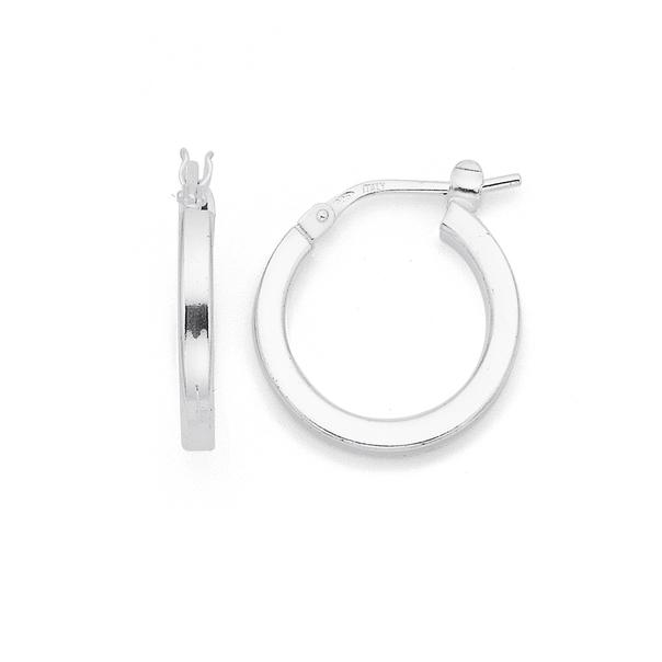 Sterling Silver 12mm Square Edge Hoop Earrings