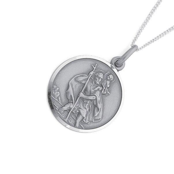 Sterling Silver 24mm St Christopher Pendant