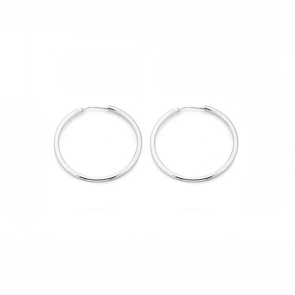 Sterling Silver 30mm Gypsy Hoop Earrings