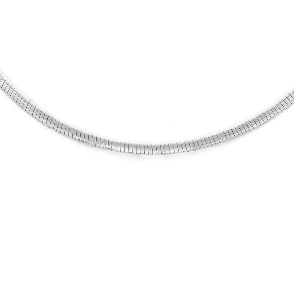 Sterling Silver 3.5mm Wide 43cm Flat Omega Necklet