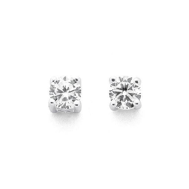 Sterling Silver 3mm Claw Set Cubic Zirconia Studs
